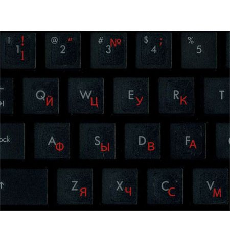 Transparent with red symbols Keyboard stickers - Russian alphabet