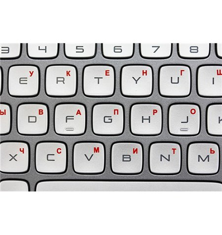 Transparent with red symbols in key corner Keyboard stickers - Russian alphabet