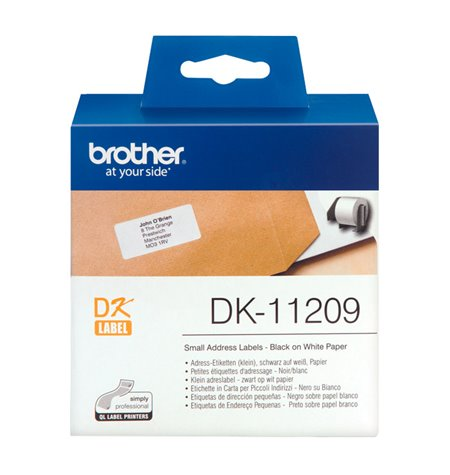 Brother DK-11209, Labels 29mm x 62mm, Black on White, 800pcs per roll