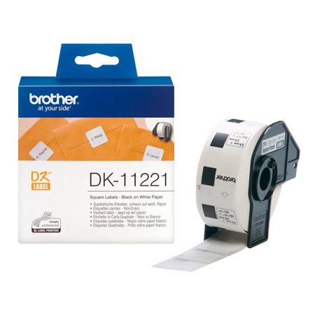 Brother DK-11221, Labels 23mm x 23mm, Black on White, 1000pcs per roll
