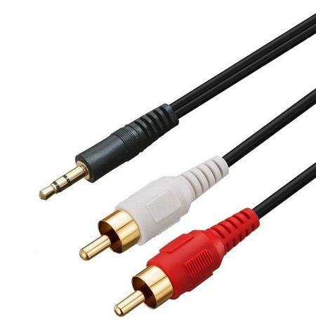 Cable: 10m, 2x RCA - Audio-jack, AUX, 3.5mm