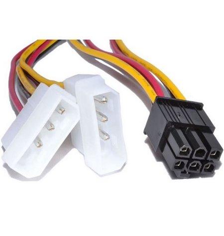 PC Internal Cable: 0.15m, 2x Molex, male - PCI-E 6pin, female