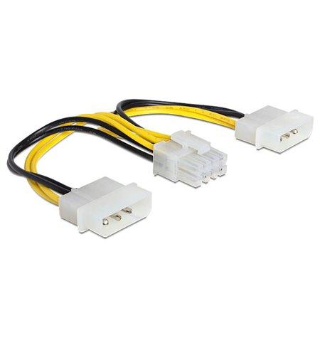 PC Internal Cable: 0.15m, 2x Molex, male - EPS 8pin, female